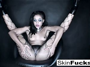 playing with her taut cootchie wearing gorgeous fishnets