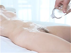 lubed up Kaylee pleasure button and gets her fur covered cunt pulverized