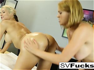 Sarah gets a deep tissue rubdown from Krissy