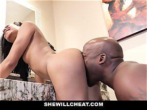 SheWillCheat - hotwife wifey penetrates big black cock in shower