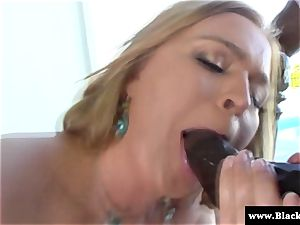 chesty Krissy Lynn blowing bbc outdoors in the sun