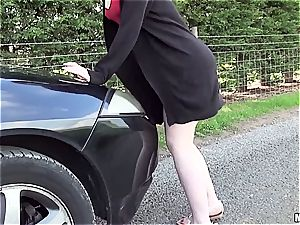 red-haired mega-bitch plumbs boy with car