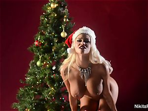 Holiday tease and finger getting off from Nikita