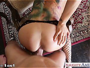 Alluring Romi Rain gets her bald vulva torn up