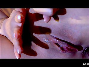 incredible Asa Akira takes a phat dark-hued spunk-pump