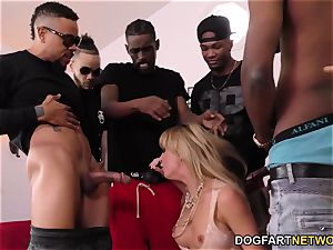 Cherie DeVille Gives deep throat To A group Of dark-hued boy
