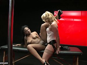 raunchy Kathia Nobili shoves her cord on manstick deep down her colleague gullet