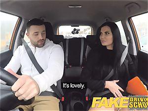fake Driving college Jasmine Jae downright naked lovemaking in car