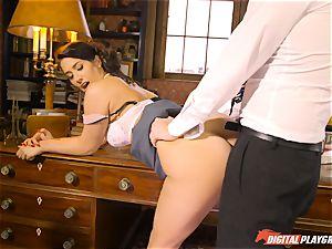 Headmistress Eva Lovia plays with her nasty schoolgirl