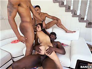 Michelle Martinez getting pulverized by a blast of ebony lollipops