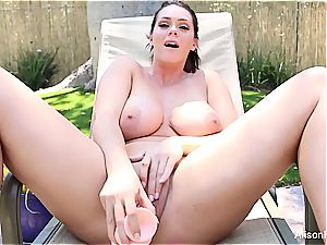 buxomy Alison Tyler playthings and thumbs her wet twat