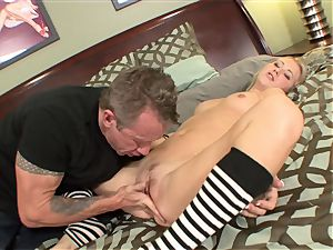 Mandy Armani wearing magnificent socks getting her fuckbox munched then getting porked