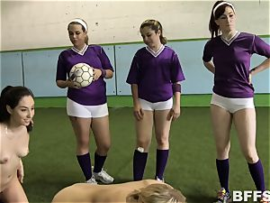scorching chicks football concludes in sapphic gang act