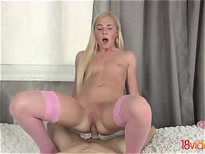 barely legal Videoz - Angie Koks - butt-fucked in pinkish stockings