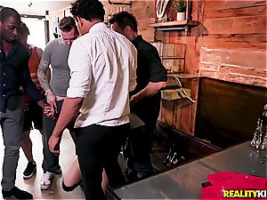 Foxy Kimber gets group-fucked on the shopping line