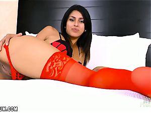 Sophia Leone in steaming crimson underwear