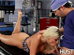 cool Britney Amber torn up during doctors check-up