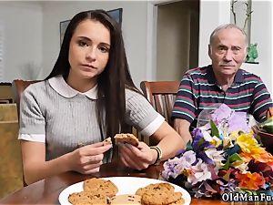 daddy slaps and tears up associate partner s daughter railing the older trouser snake!