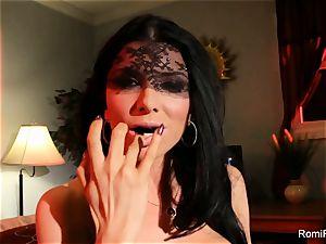 Romi plunges undies in her vag then licks them neat