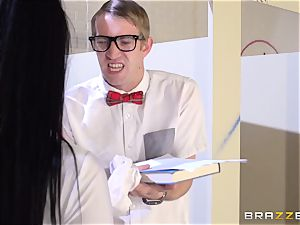 Katrina Jade ravages the class egghead for his homework