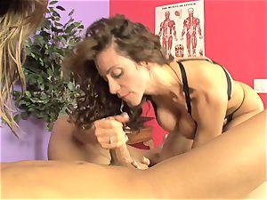 Ariella Ferrera and torrid babe sucking a rock hard man-meat