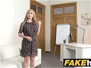 faux Agent molten platinum-blonde humungous baps Russian gets a facial cumshot