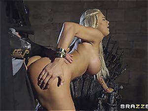 Daenerys Targaryen gets poked by Jon Snow on the iron Throne