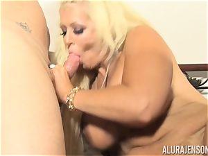 Lusty blond cutie Alura Jenson slit thrashed by the gardener