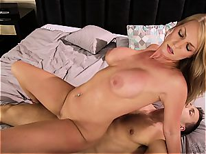 Stepson can't hide swelling from his huge-boobed cougar stepmom