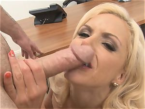 cool assistant Nina Elle fellates fuck-stick in the office