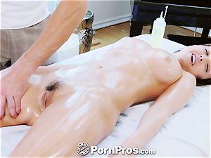 PornPros big-chested Dillion Harper rubdown drill and facial cumshot