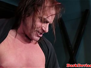 Fishnet cockwhore facefucked and facilized