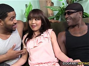 Marica Hase rockets while DP'd by ebony cocks