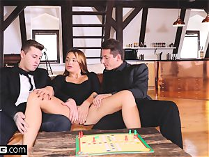 Glamkore - brown-haired european stunner in double penetration threeway