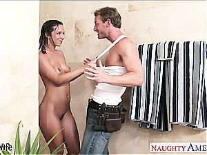delightful Jada Stevens gets her anus romped in the douche