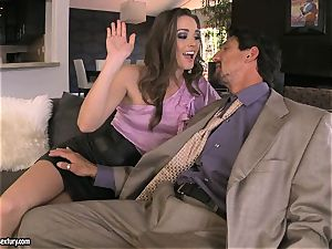 Tori black pleases her man's shaft making it indeed rock hard to handle