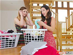 vag fumbling uber-cute Eva Lovia and Stella Cox messing in the laundry