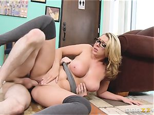 Desperate honey Brooke Wylde is poked in the library