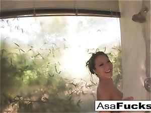 Asa Akira takes a super-hot shower