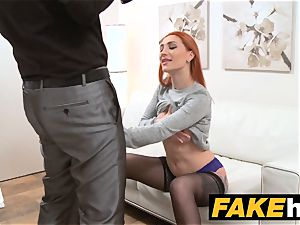 fake Agent redhead chooses rigid pecker over moist puss