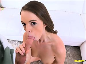 sexy black-haired Mia Monroe gets a facial cumshot