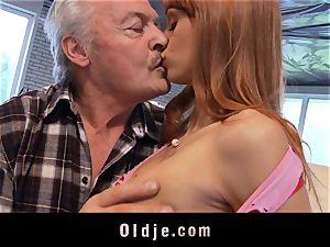 Oldman Gustavo blessed to pulverize wonderful Erica Fontes