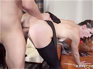 Ella Nova takes a giant penis down her