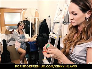 super-naughty INLAWS - Gina Gerson torn up by milf with electro-hitachi